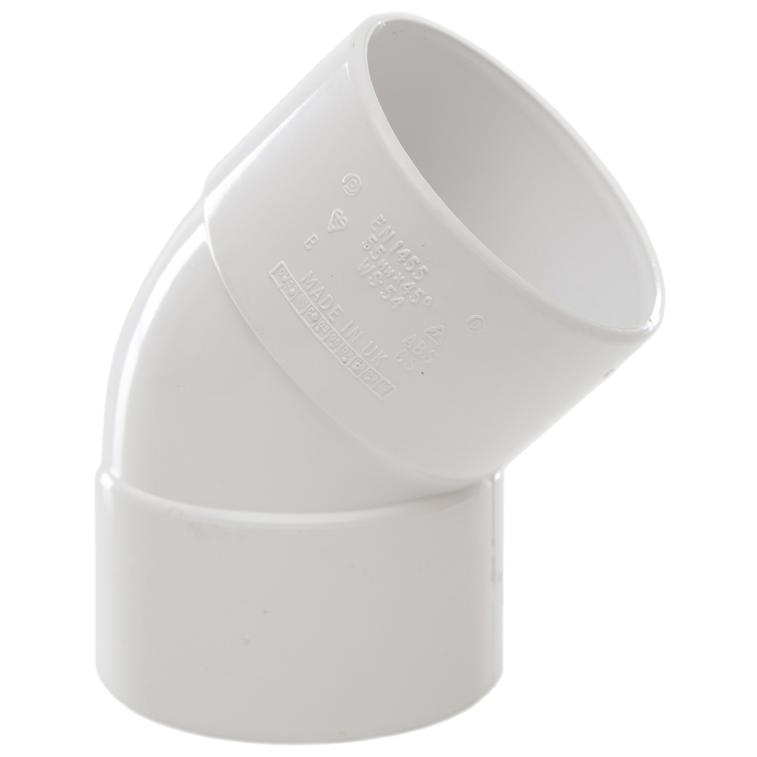 Polypipe 50mm Solvent Weld Waste 45 Degree Obtuse Bend - White
