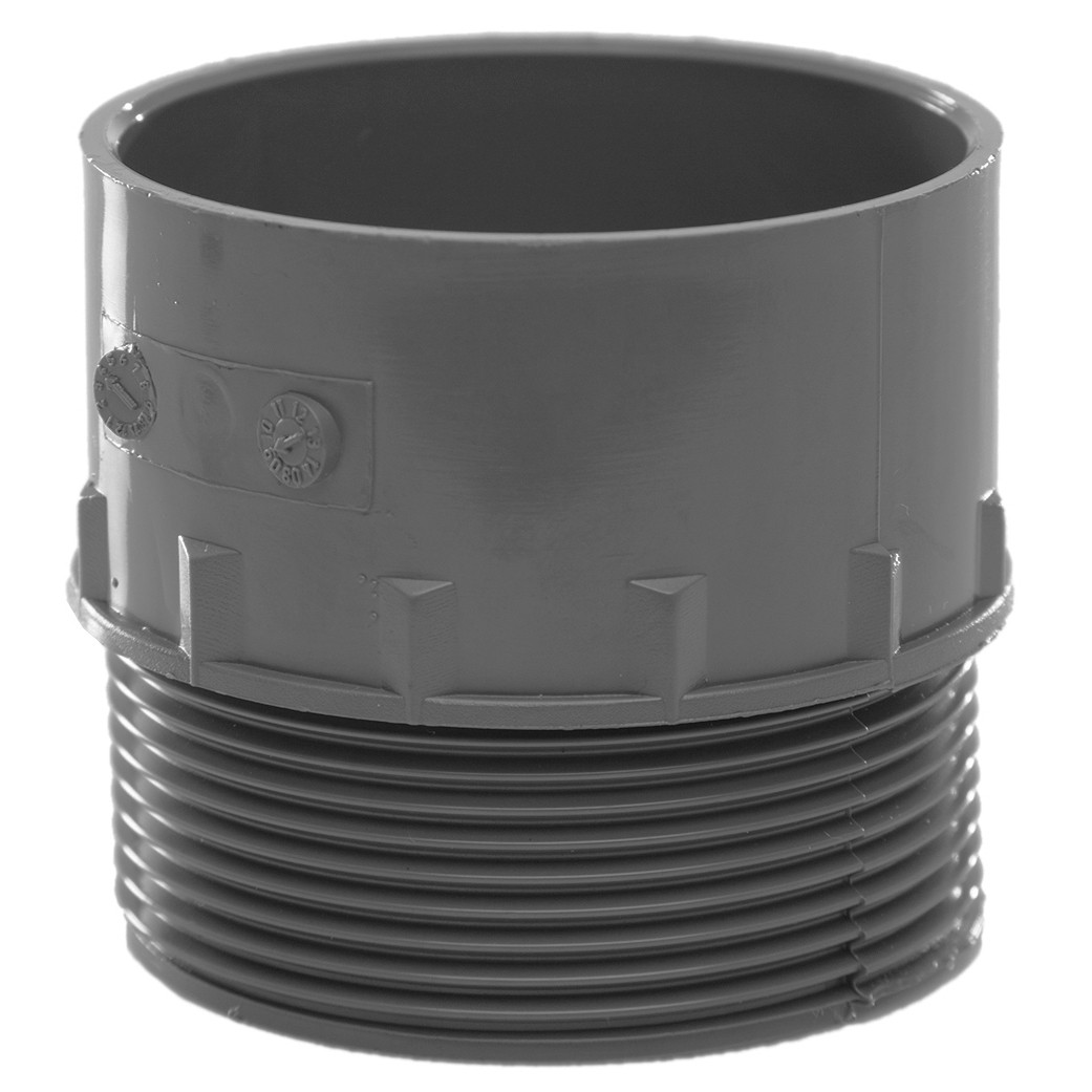 Polypipe 50mm Solvent Weld Waste to Male Iron Adaptor - Grey