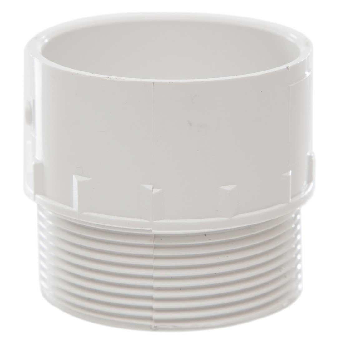 Polypipe 50mm Solvent Weld Waste to Male Iron Adaptor - White