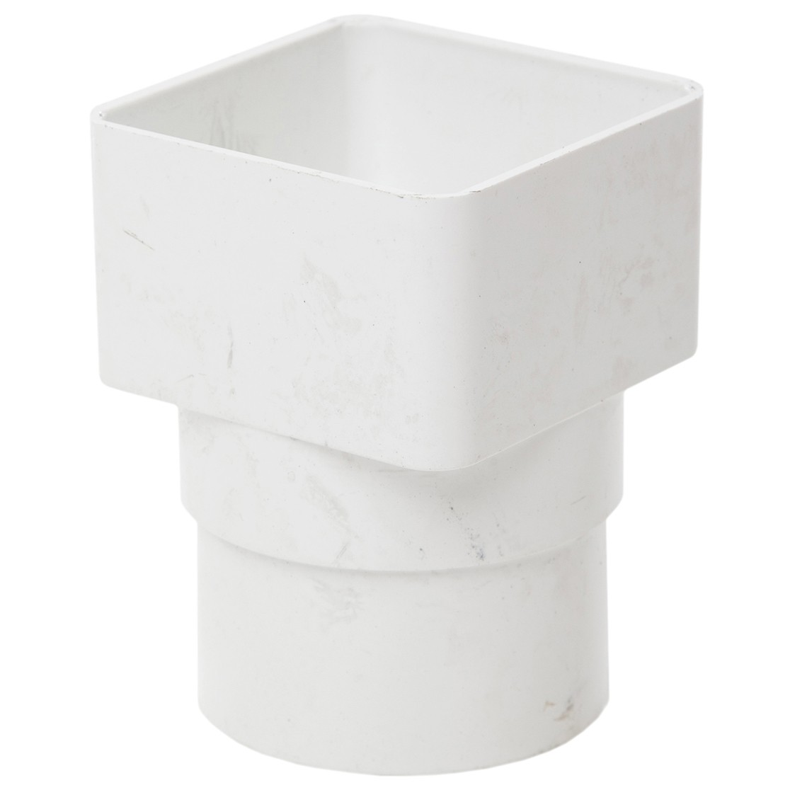 Polypipe 65mm Square to 68mm Round Down Pipe Adaptor - White