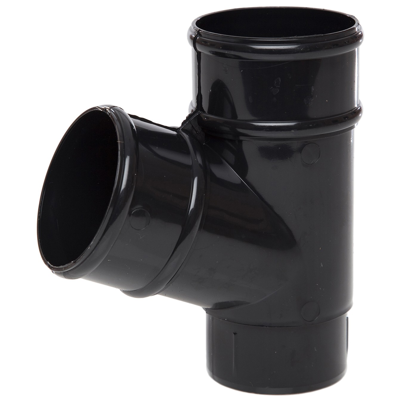 Polypipe 68mm Round Down Pipe 112.5 Degree Branch - Black