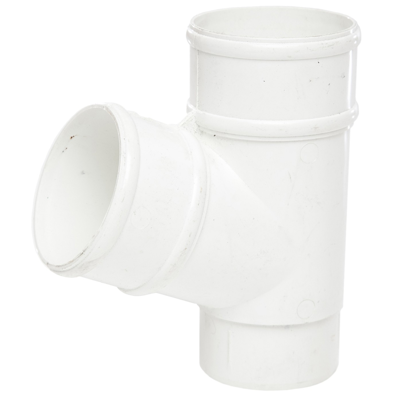 Polypipe 68mm Round Down Pipe 112.5 Degree Branch - White