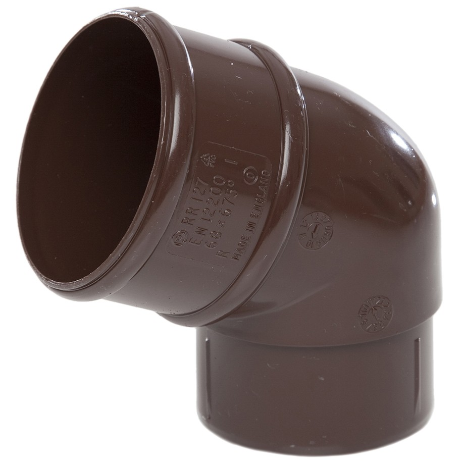 Polypipe 68mm Round Down Pipe 112.5 Degree Offset Bend - Brown