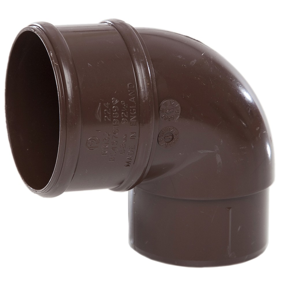 Polypipe 68mm Round Down Pipe 92.5 Degree Offset Bend - Brown