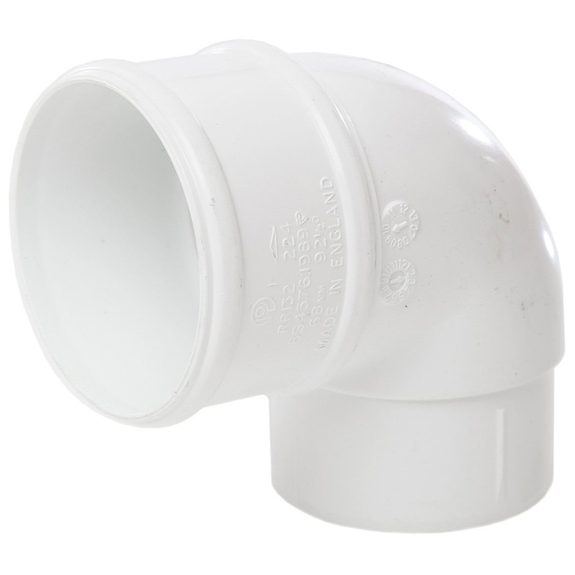 Polypipe 68mm Round Down Pipe 92.5 Degree Offset Bend - White
