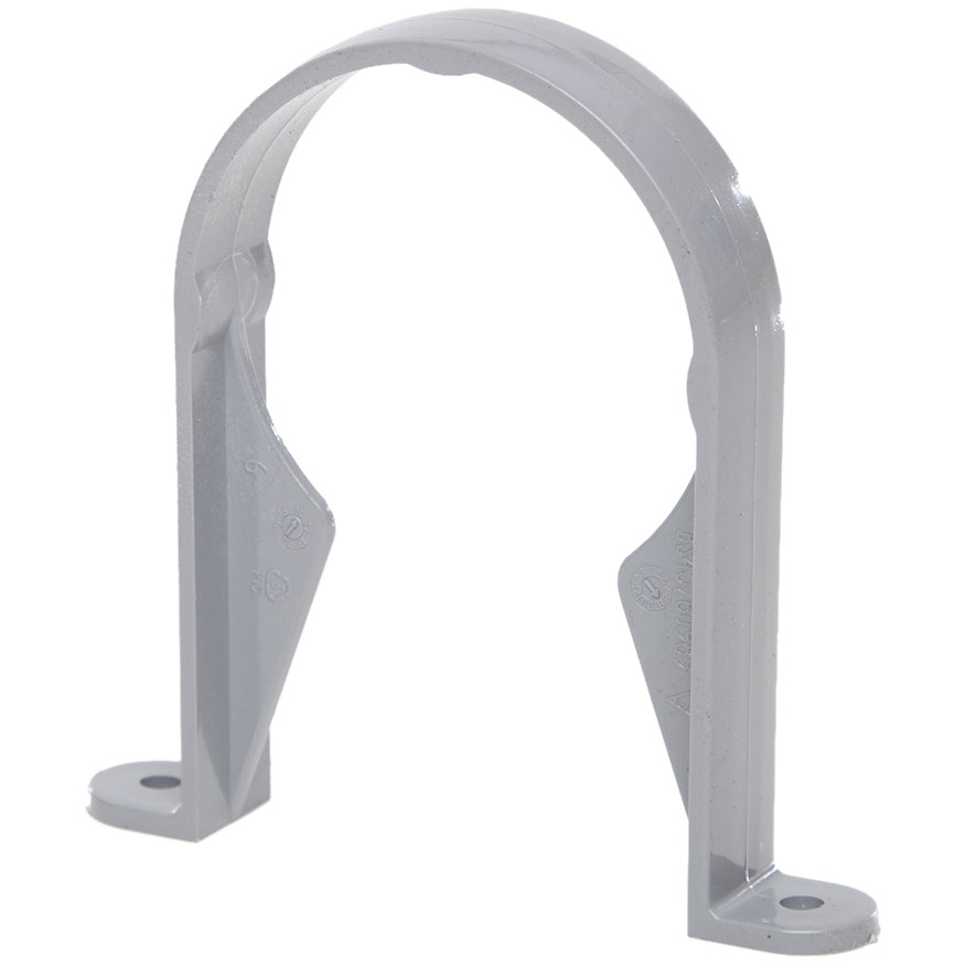 Polypipe 68mm Round Down Pipe Clip (Standard) - Grey