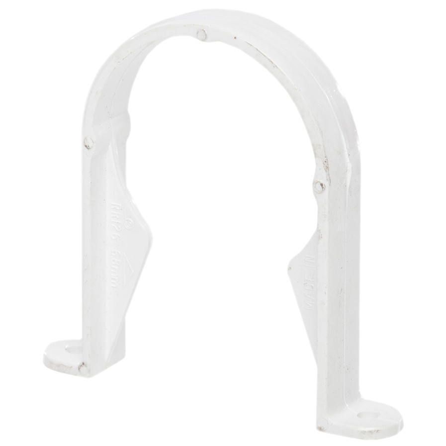 Polypipe 68mm Round Down Pipe Clip (Standard) - White