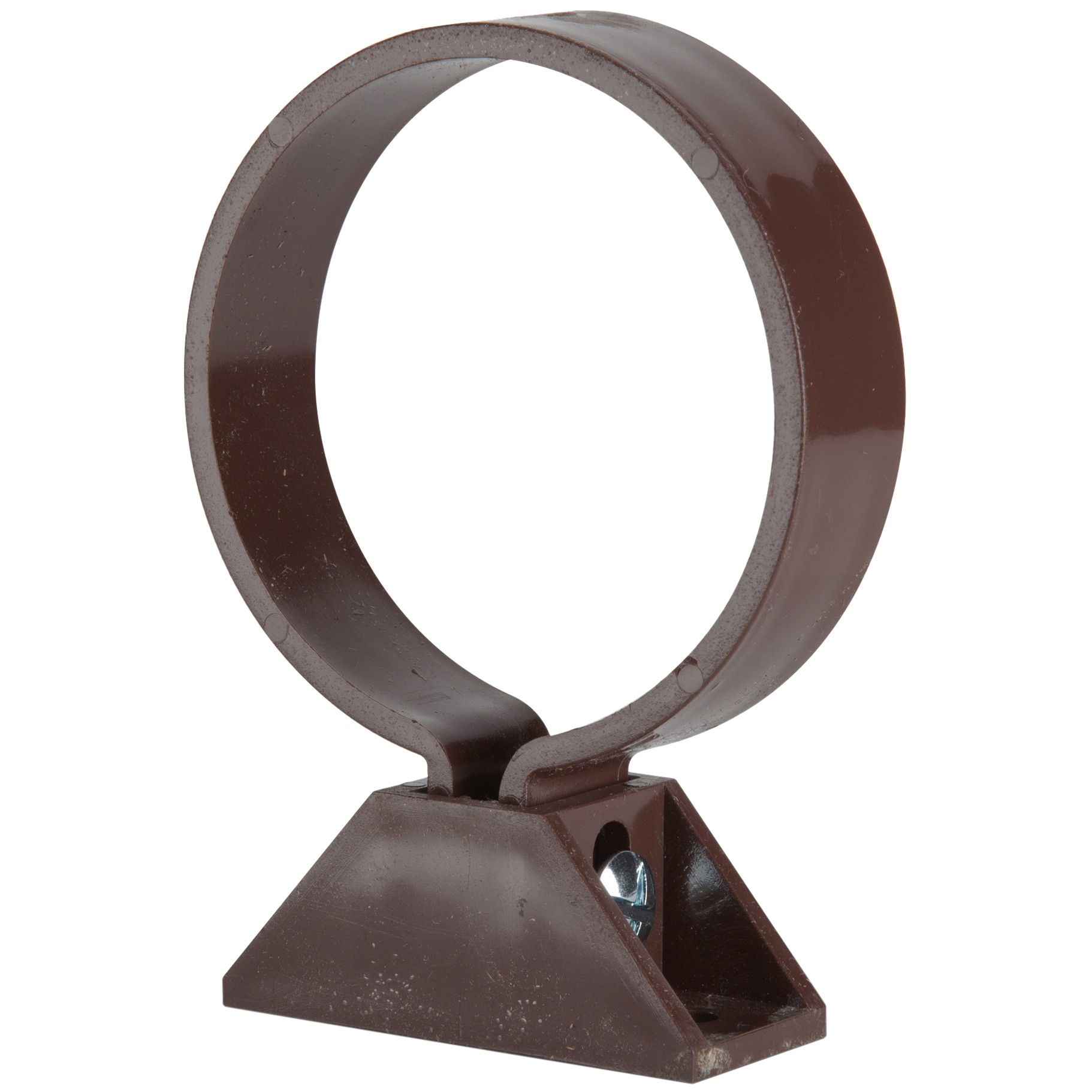 Polypipe 68mm Round Down Pipe Clip (with Nut, Bolt and Back Plate) - Brown