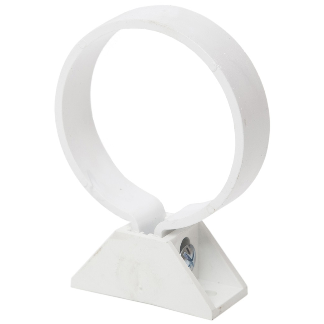 Polypipe 68mm Round Down Pipe Clip (with Nut, Bolt and Back Plate) - White