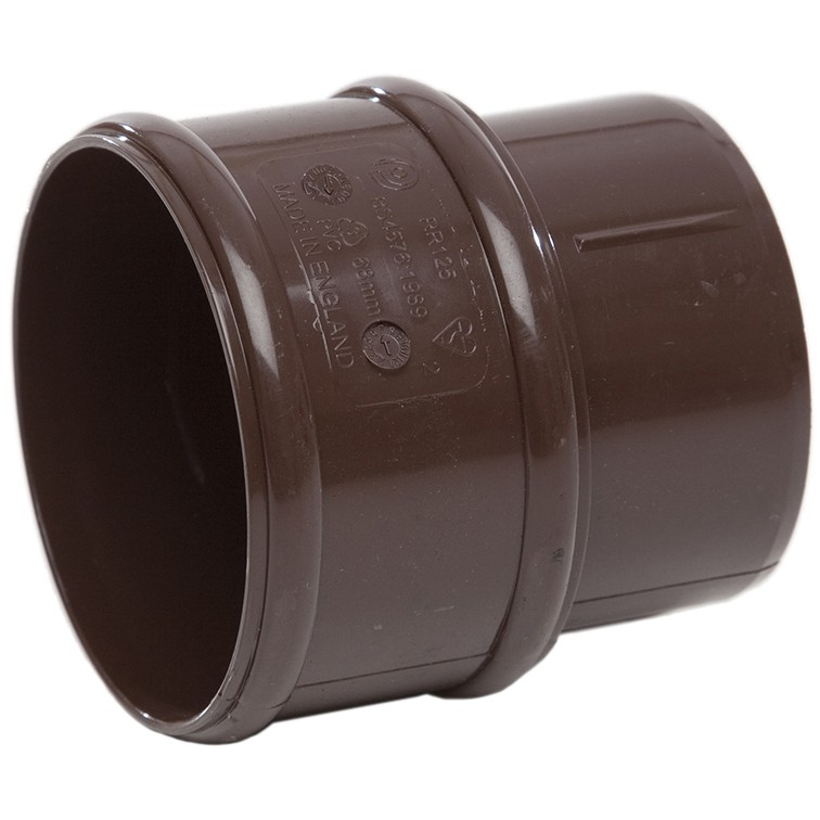 Polypipe 68mm Round Down Pipe Connector - Brown