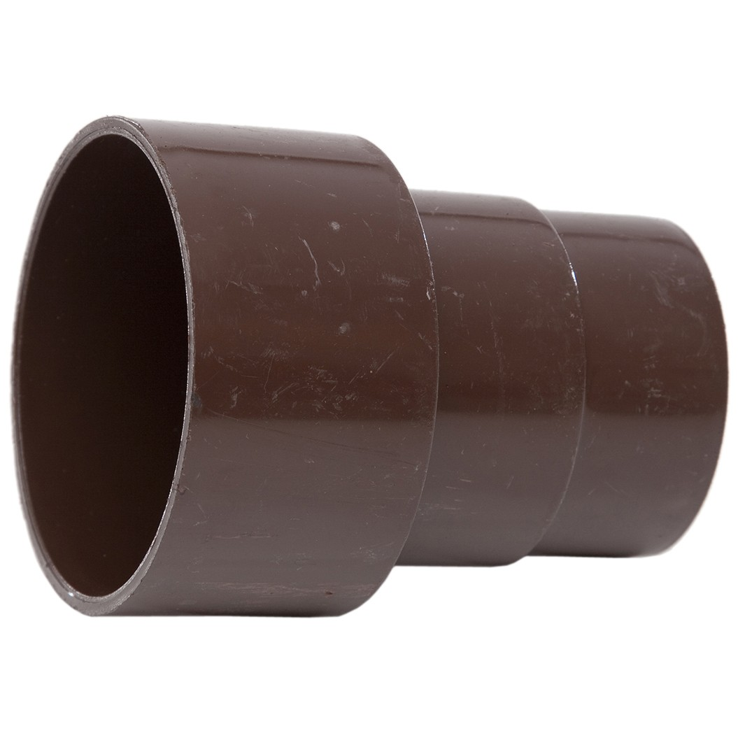 Polypipe 68mm Round Down Pipe Connector to Cast Iron 82mm Round Down Pipe - Brown