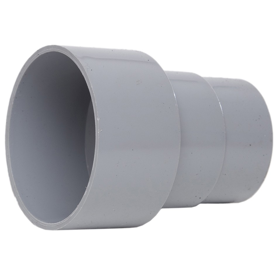 Polypipe 68mm Round Down Pipe Connector to Cast Iron 82mm Round Down Pipe - Grey