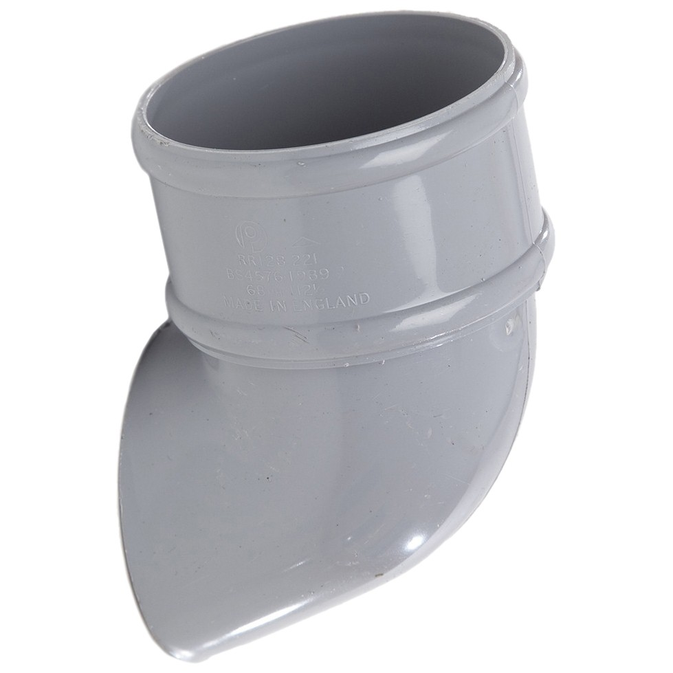 Polypipe 68mm Round Down Pipe Shoe - Grey