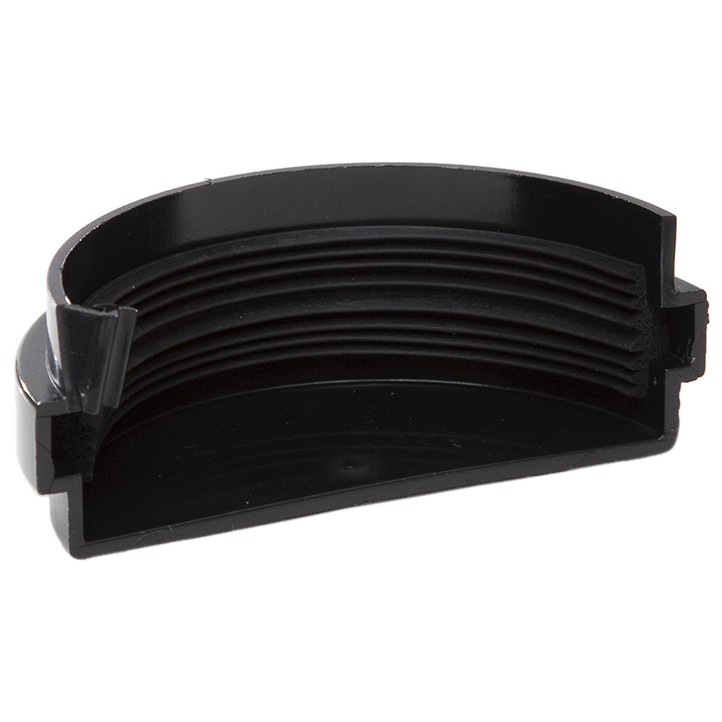 Polypipe 75mm Mini Half Round Gutter External Stop End - Black