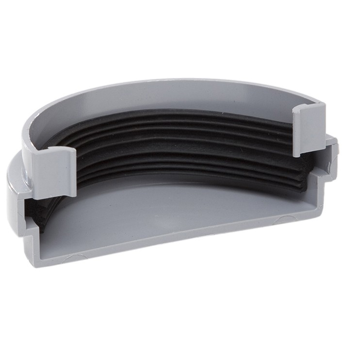 Polypipe 75mm Mini Half Round Gutter External Stop End - Grey