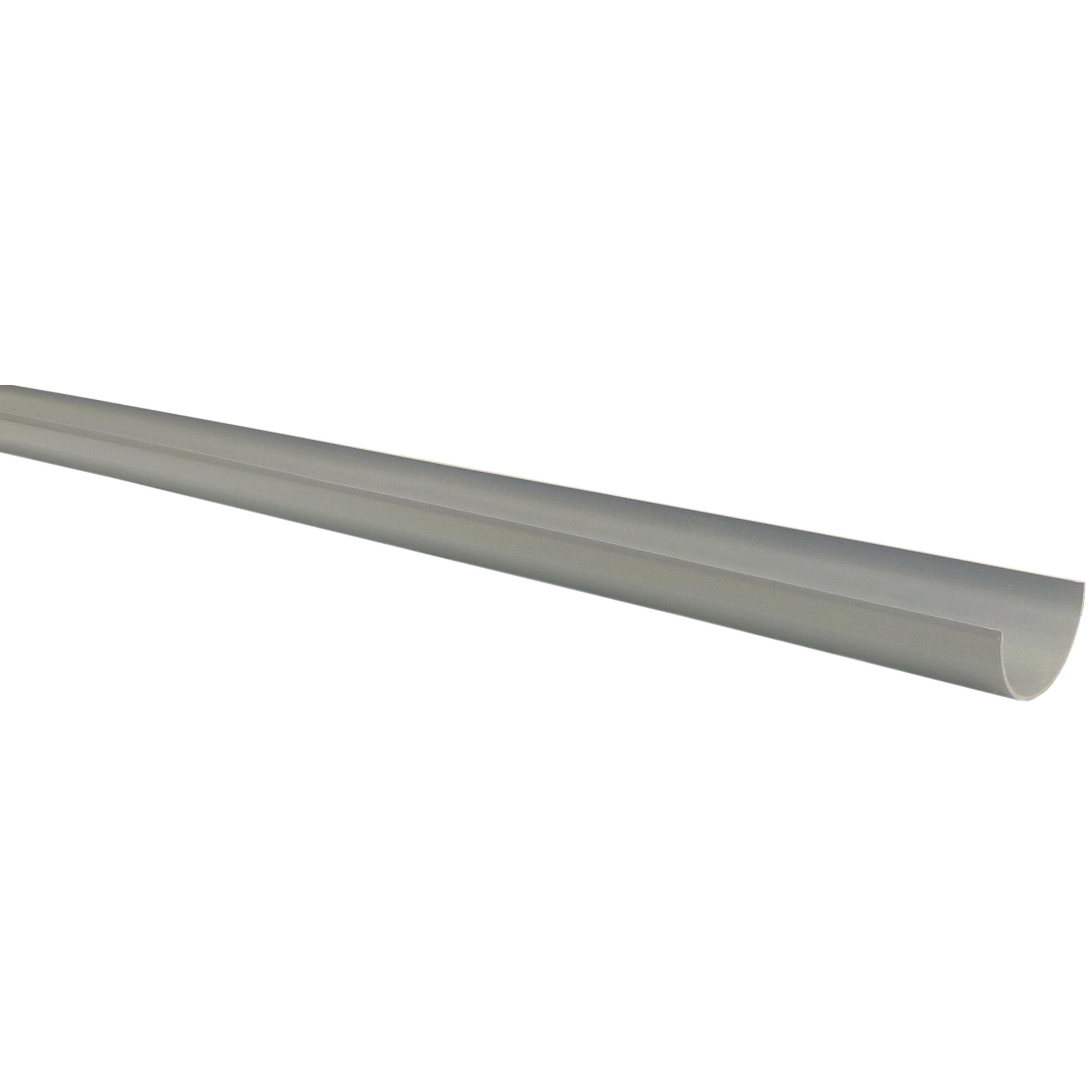 Polypipe 75mm Mini Half Round Gutter - Grey, 2 metre