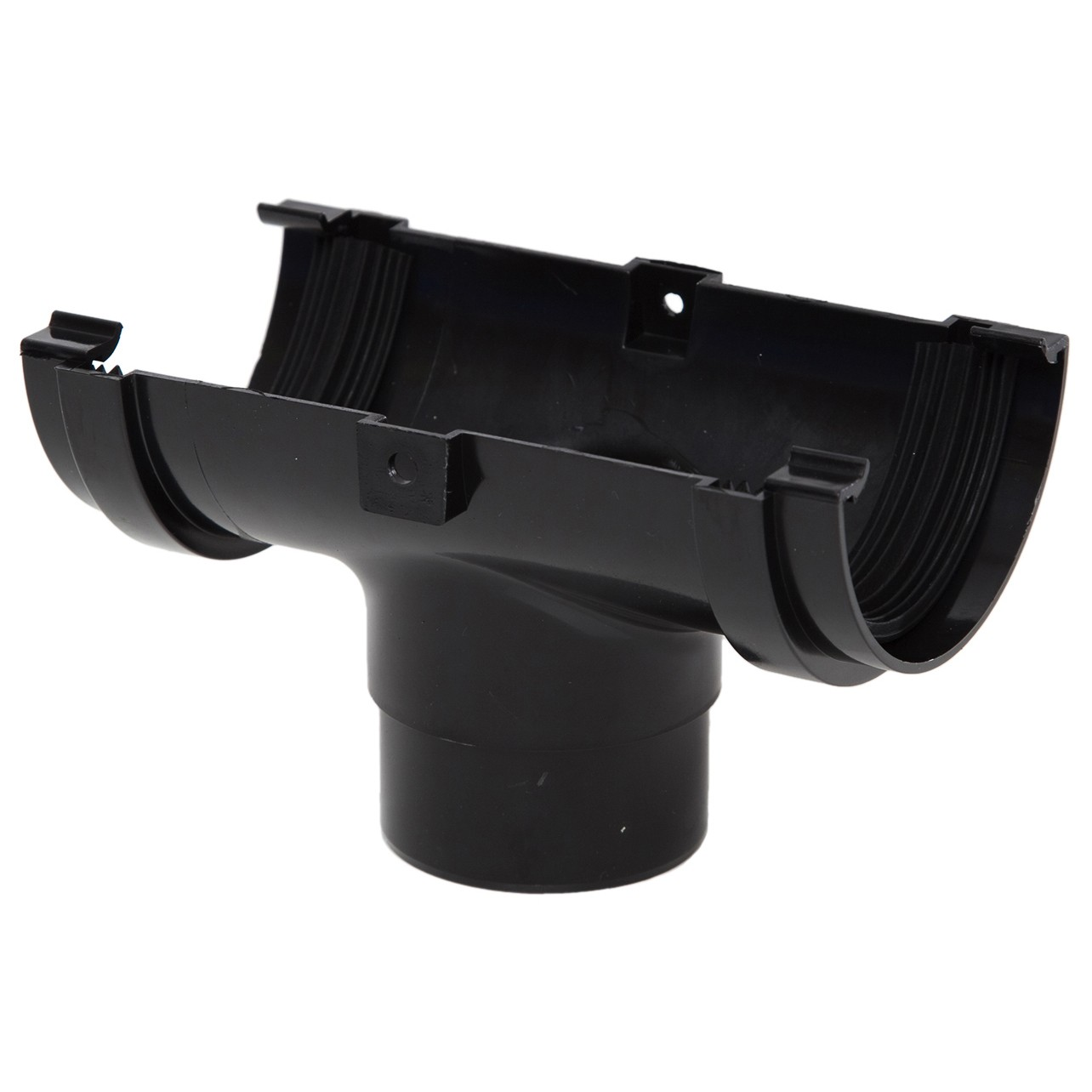 Polypipe 75mm Mini Half Round Gutter Running Outlet - Black
