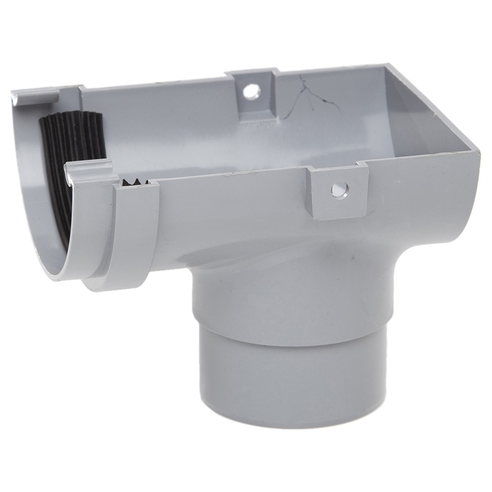Polypipe 75mm Mini Half Round Gutter Stop End Outlet - Grey