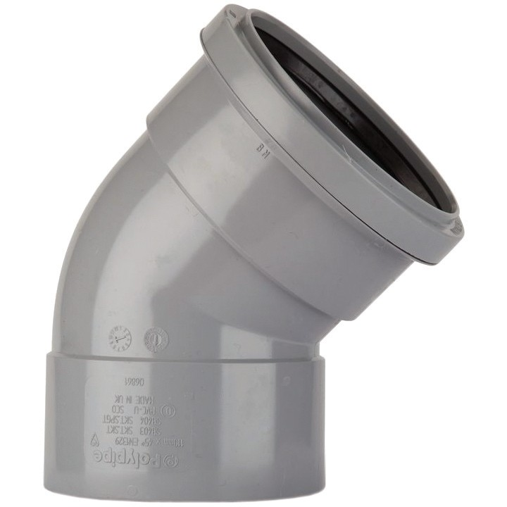 Polypipe 82mm Soil Double Socket 135 Degree Offset Bend - Grey