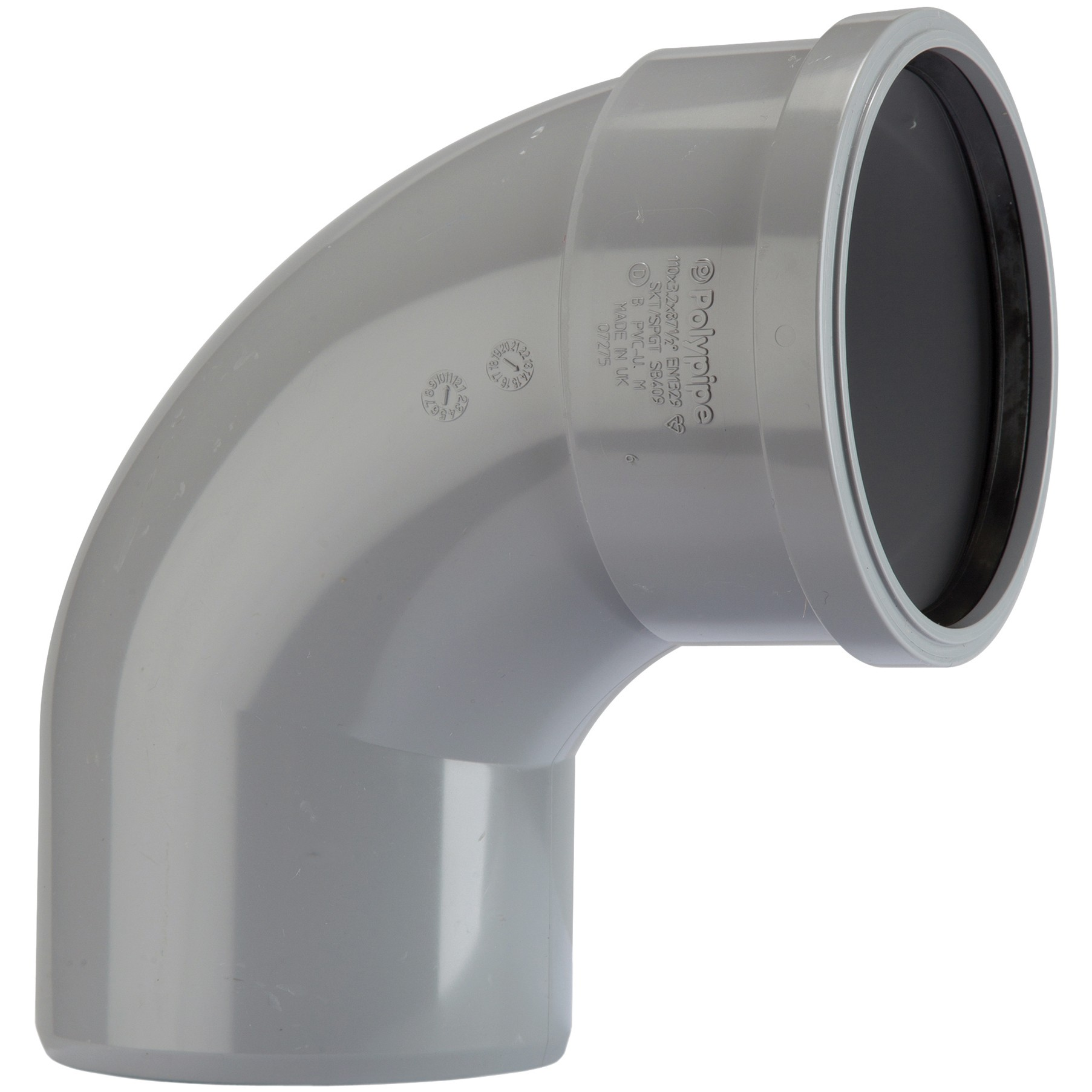 Polypipe 82mm Soil Single Socket 92.5 Degree Bend - Grey