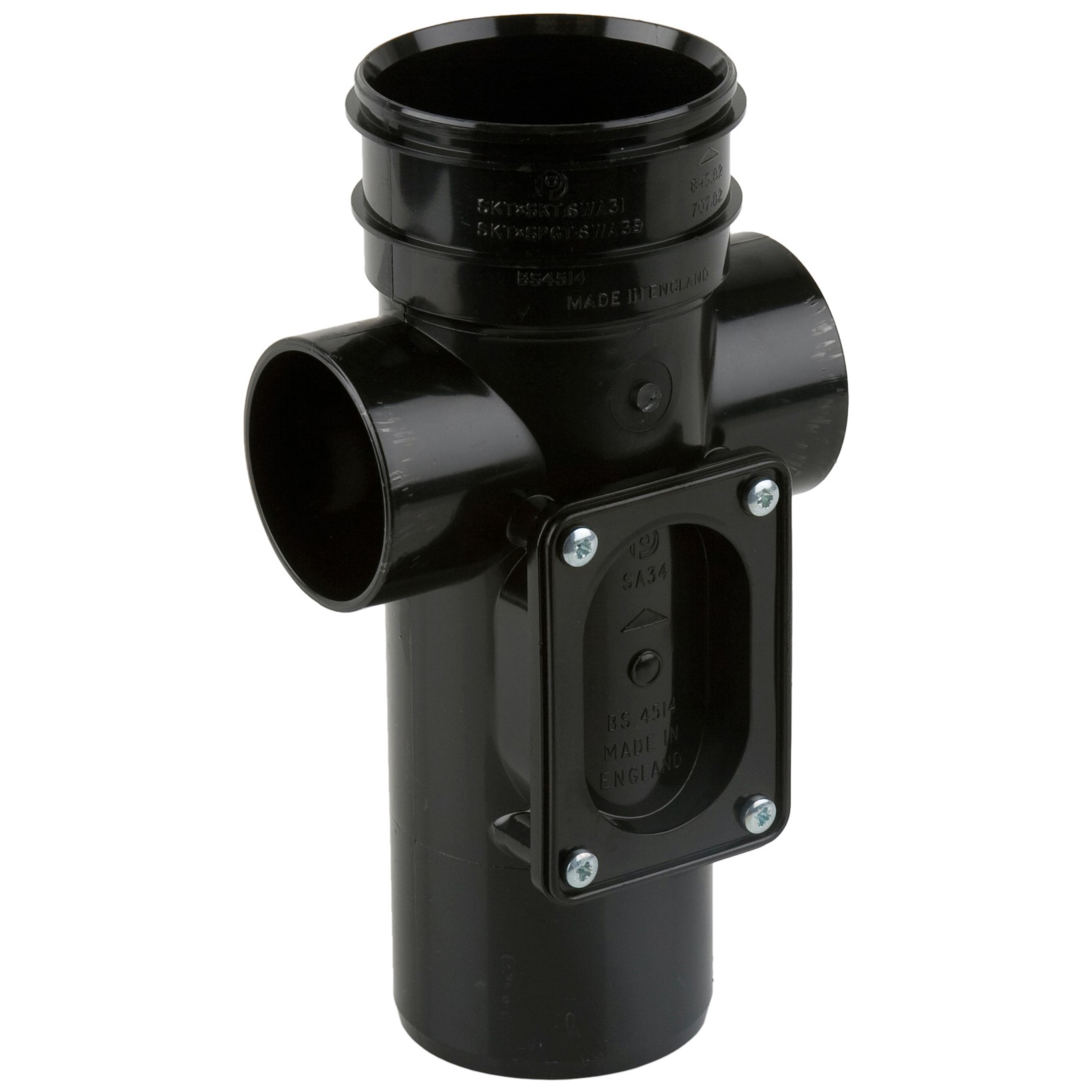 Polypipe 82mm Soil Single Socket Access Pipe - Black