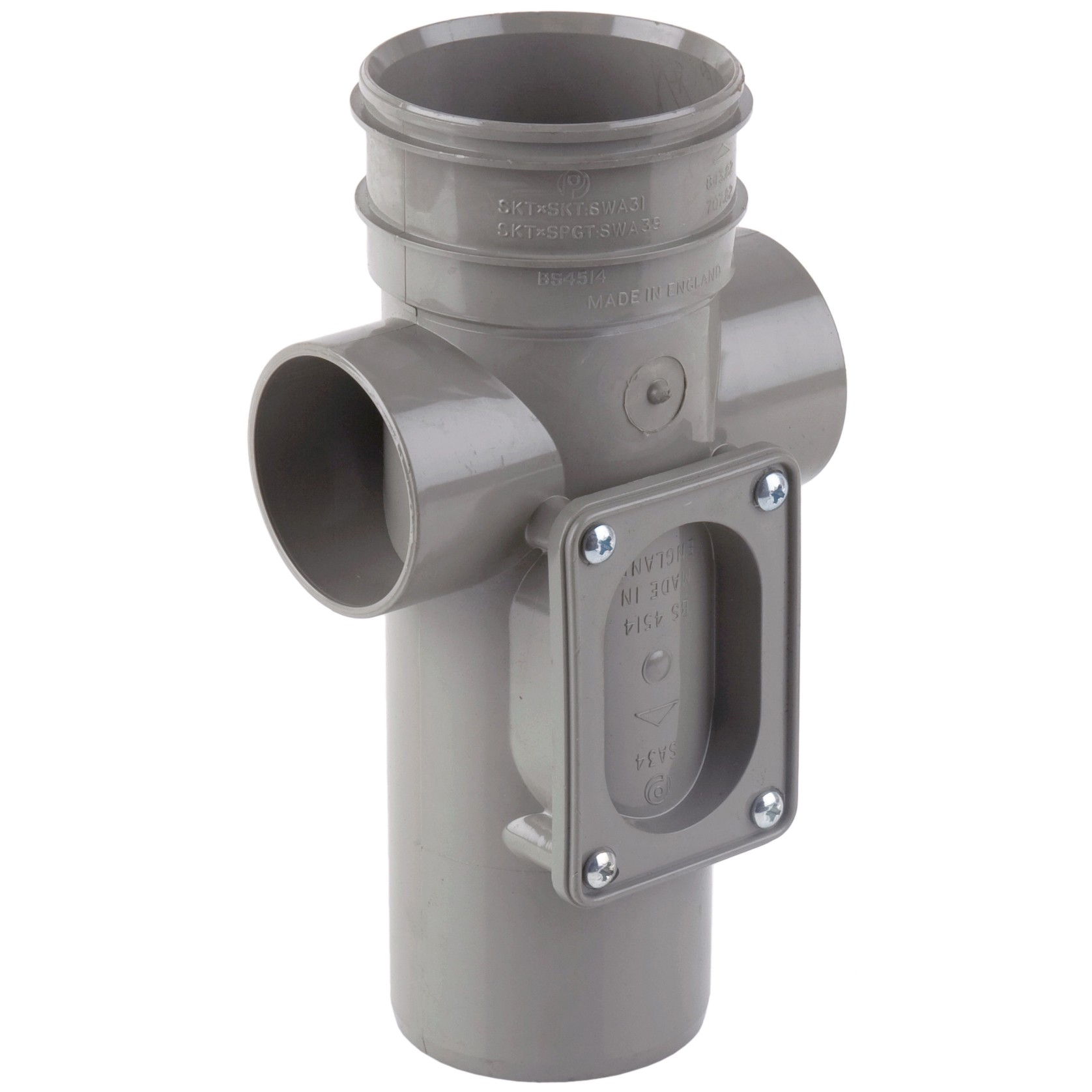 Polypipe 82mm Soil Single Socket Access Pipe - Grey