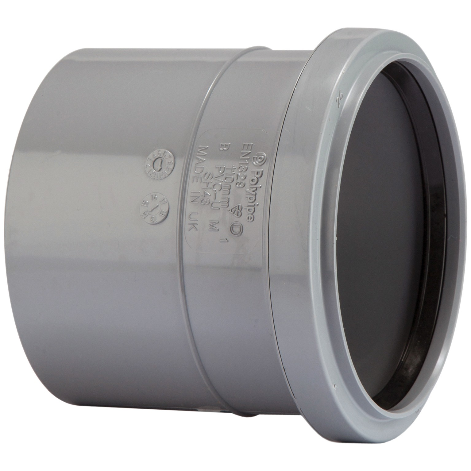 Polypipe 82mm Soil Single Socket Coupler - Grey