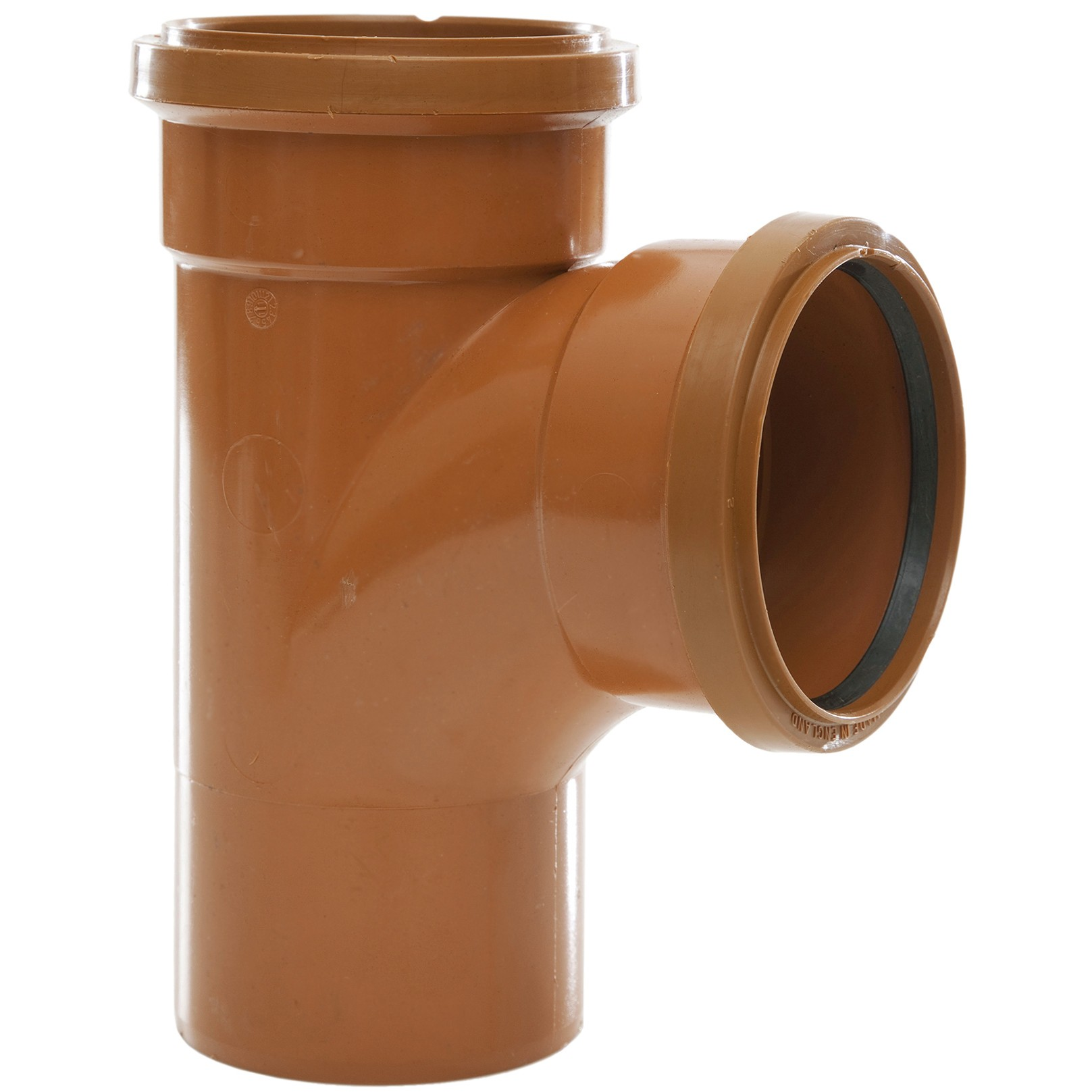 Polypipe 82mm Underground 87.5 Degree Double Socket Equal Junction - Terracotta