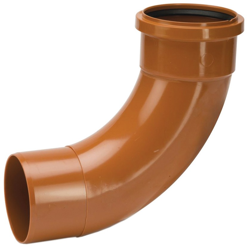 Polypipe 82mm Underground 87.5 Degree Single Socket Short Radius Bend - Terracotta