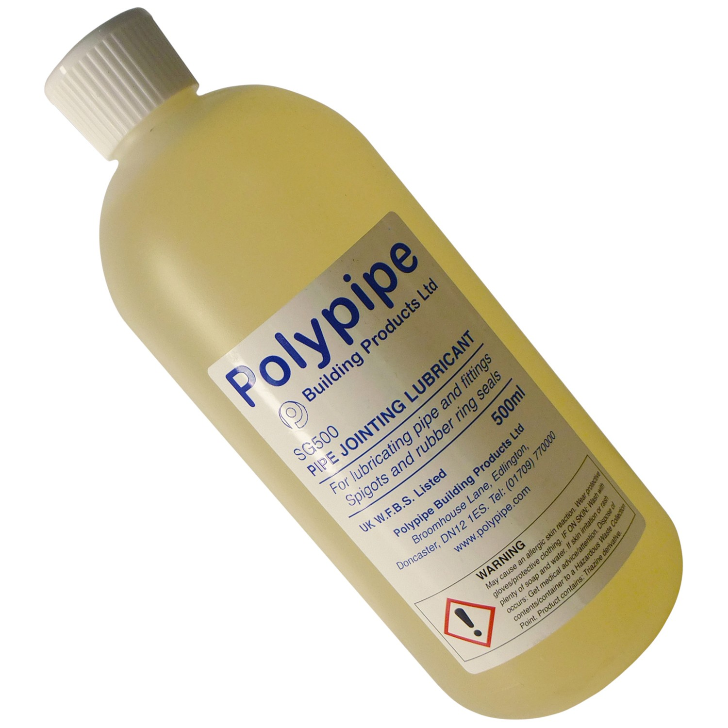 Polypipe Pipe Joint Lubricant Bottle - Clear, 500ml