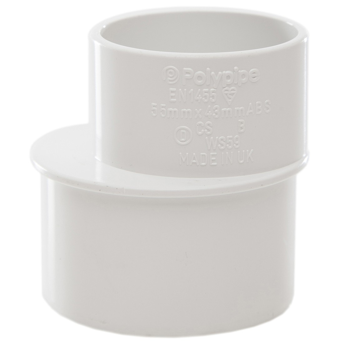 Polypipe Solvent Weld Waste Reducer (50mm to 40mm) - White