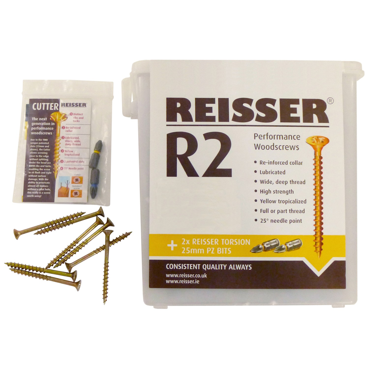 Reisser R2 Wood Screws Tub (1500 Pack) - Metal, 4mm x 30mm