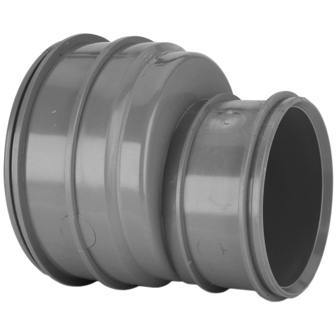 System 2000 110mm to 82mm Solvent Soil Double Socket Reducer - Solvent Grey