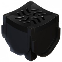 Brett Martin Linear Channel Drain Corner with Plastic Grating - Black