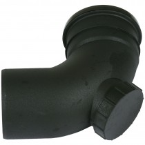 Cascade 110mm Cast Iron Style Soil Single Socket 92.5 Degree Access Bend - Black