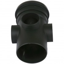 Cascade 110mm Cast Iron Style Soil Single Socket Triple Boss Pipe - Black