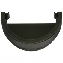 Cascade 115mm Deep Flow Cast Iron Style Gutter External Stop End - Black