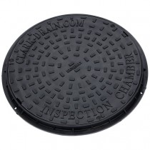 Clark Drain 450mm Round Solid Top Cover and Frame (3.5 Tonne) - Black, 550mm