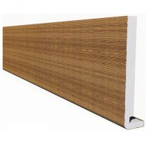 Freefoam Magnum Square Leg 18mm Fascia Board - Woodgrain Light Oak, 250mm, 5 metre