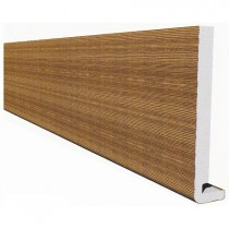 Freefoam Magnum Square Leg 18mm Fascia Board - Woodgrain Light Oak, 400mm, 5 metre