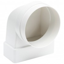 Manrose Flat To 100mm Round Ducting Pipe Female Elbow - White, 110mm x 54mm to 100mm