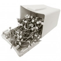 Plastops Plastic Headed Pins - White, 30mm