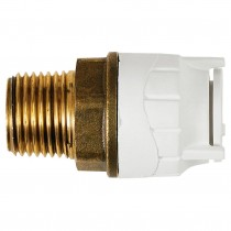 "PolyFit 22mm to ¾"" Male BSP Push Fit Adaptor - White"