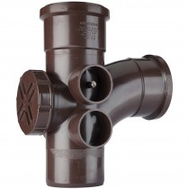 Polypipe 110mm Soil 92.5 Degree Access Branch - Brown