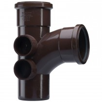 Polypipe 110mm Soil 92.5 Degree Equal Branch with 4 Bosses - Brown