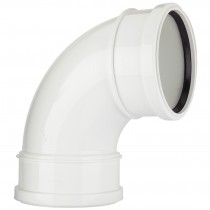 Polypipe 110mm Soil Double Socket 92.5 Degree Bend - White