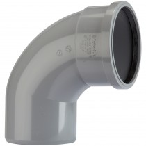 Polypipe 110mm Soil Single Socket 92.5 Degree Offset Bend - Grey