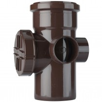 Polypipe 110mm Soil Single Socket Access Pipe - Brown