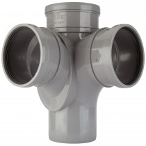 Polypipe 110mm Soil Triple Socket 92.5 Degree Corner Branch - Grey