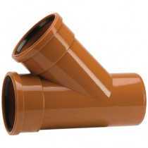 Polypipe 110mm Underground 45 Degree Double Socket Equal Junction - Terracotta
